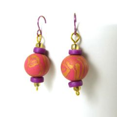 Pink gold and purple bead earrings