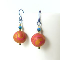pink gold bead earrings on blue niobium hooks