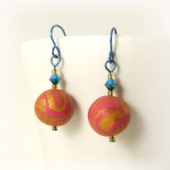 pink and gold bead earrings