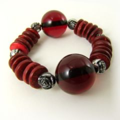 Chunky red black and silver bead bracelet