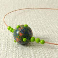 retro bumpy bead necklace