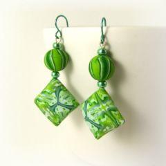 green kaleidoscope tie dye bead earrings