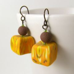 yellow marble wonky cube bead earrings
