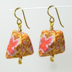 orange kaleidoscope humbug earrings