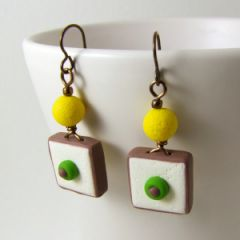 Yellow macaroni on sterling silver stud earrings