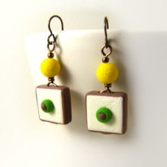 Pale yellow retro square earrings