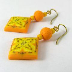 Pale yellow retro square earrings
