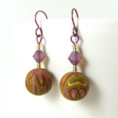 Bronze green and purple earrings