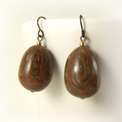 Chocolate brown egg shaped polymer clay bead earrings on hypoallergenic niobium hooks