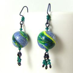 glitter swirl bead tassel earrings