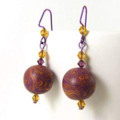 Orange and purple bead earrings with Swarovski crystals