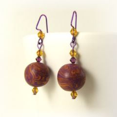 Orange and purple bead earrings with Swarovski crystals