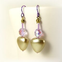glass pearl and crystal bead earrings