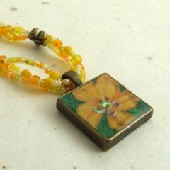 yellow flower pendant multistrand necklace