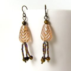 peach leaf and bead tassel earring