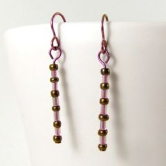 Pink and bronze niobium earrings