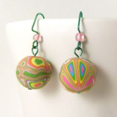 Funky pink and green bead earrings