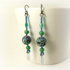 stained glass and bead green earring