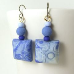 Blue grey and indigo mokume gane square earrings