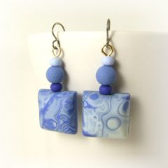 Blue grey and indigo mokume gane square earrings