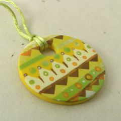 yellow and chartreuse zigzag pendant on satin cord