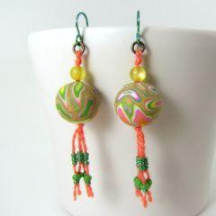 Multicolour bead and silk tassel earrings