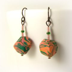 green and peach nugget earrings