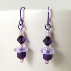 pink and purple bead earrings