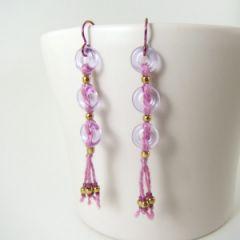 orchid coloured silk tassel earrings