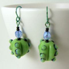 green blue and black bumpy bead earrings