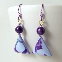 violet flower and miracle bead earrings