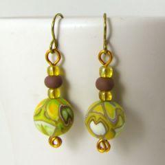 Yellow and orange kaleidoscope diamond earrings
