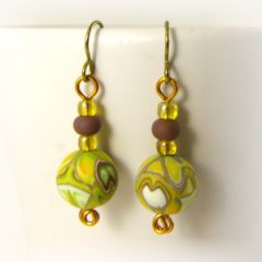 Yellow patchwork bead on gold niobium earrings
