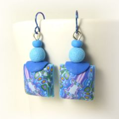 blue kaleidoscope pillow square earrings