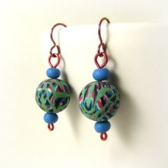 stained glass bead and aqua earring