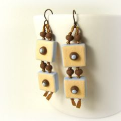 retro tile peach on brown ribbon earrings