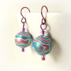 pink and blue wood grain bead earrings