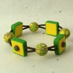 Yellow green and brown bead bracelet