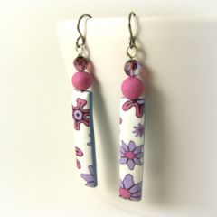 flower power polymer clay earrings