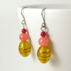 Yellow orange and red bead earrings