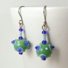 blue and green bumpy bead earrings