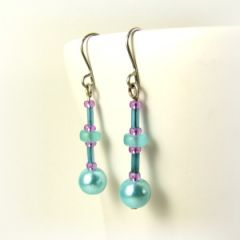 turquoise pearl and purple bead earrings