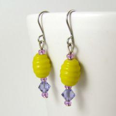 yellow and purple swarovski crystal bead earrings