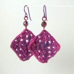 magenta crochet earrings