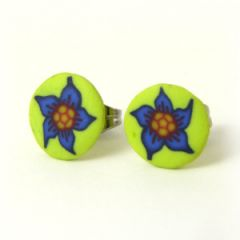 blue flower on yellow background stud earrings