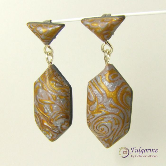 Gold And Silver Polymer Clay Art Deco Style Dangle Earrings