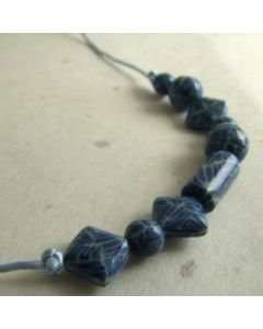 Mixed blue bead adjustable necklace