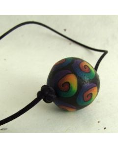 Rainbow spiral on black bead satin cord necklace