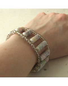White and silver bead bracelet