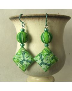 green kaleidoscope tie dye bead earrings